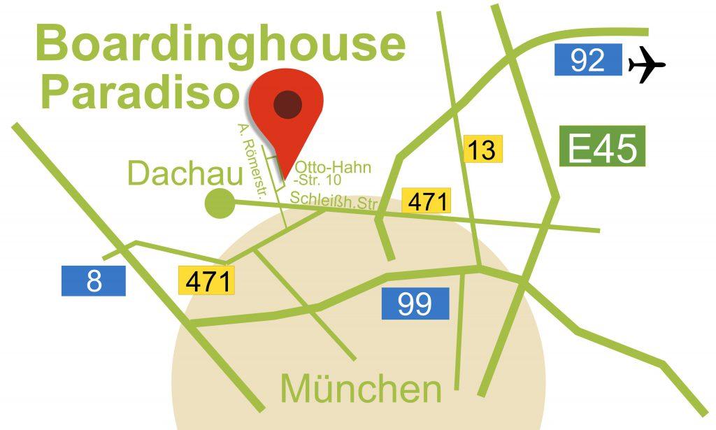 Anfahrtsskizze Boardinghoude Paradiso in Dachau